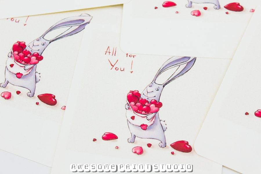 Валентинки из карточек в стиле Полароид