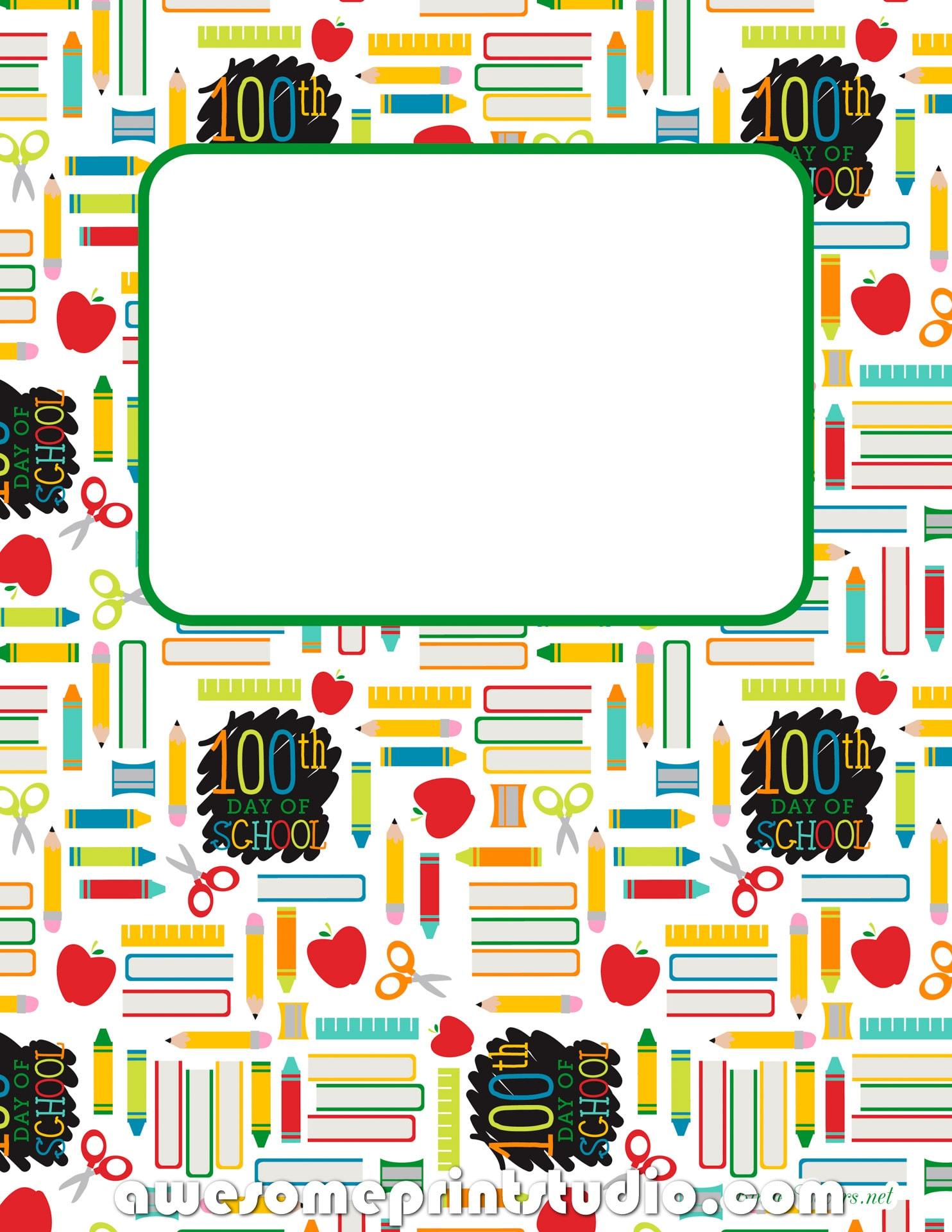 распечатать красивые обложки для тетрадей 100 дней в школе