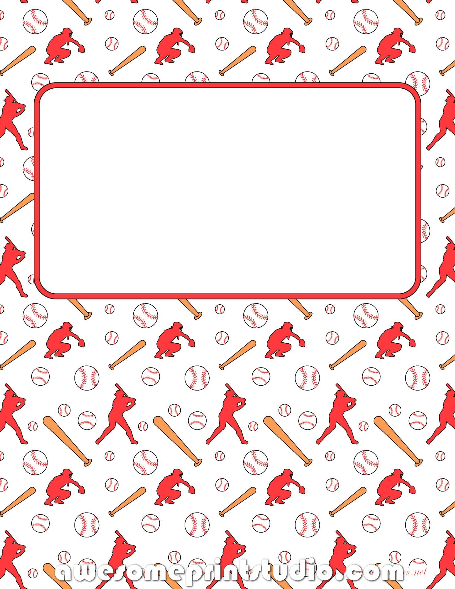 распечатать красивые обложки для тетрадей с бейсболом