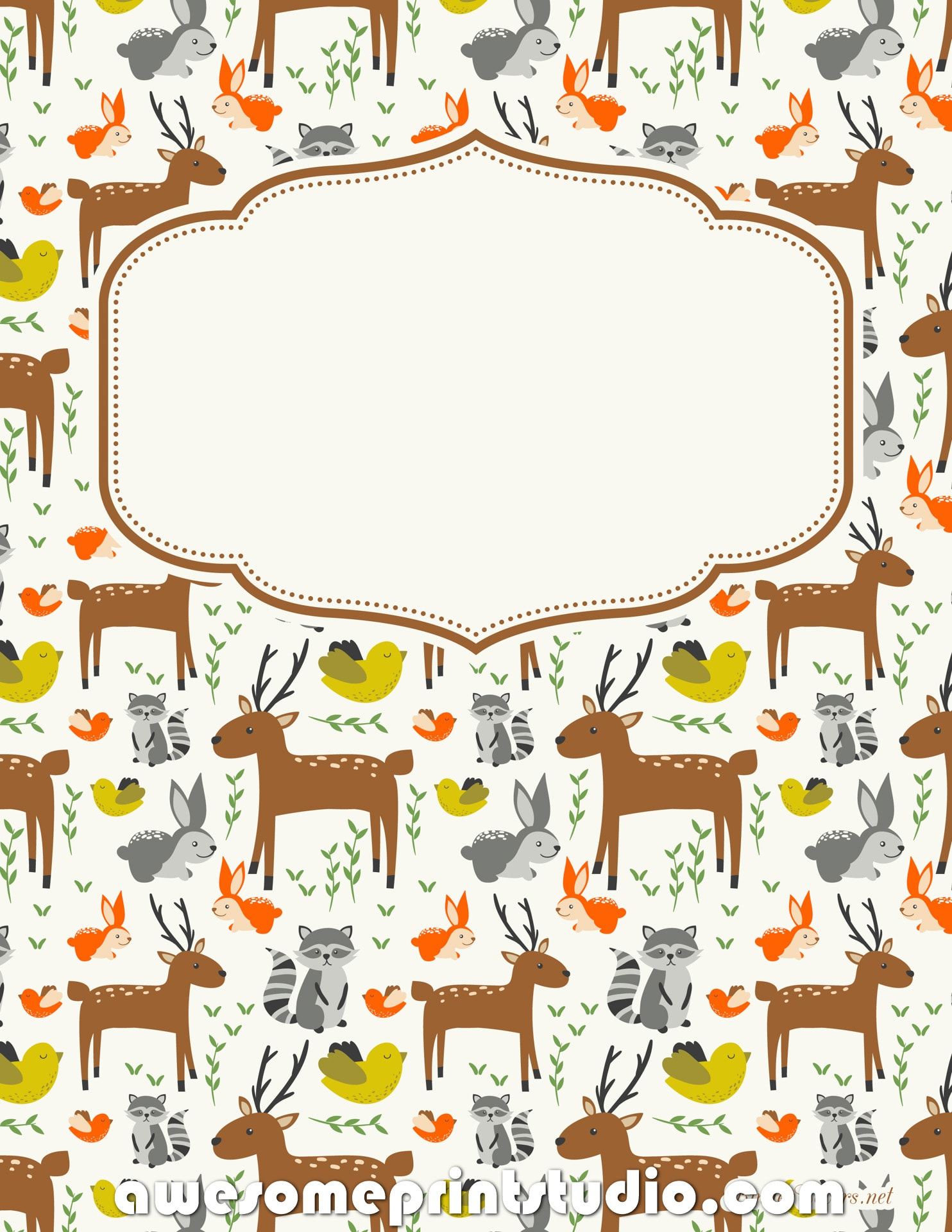 распечатать красивые обложки для тетрадей с животными оленями енотами птицами кроликами