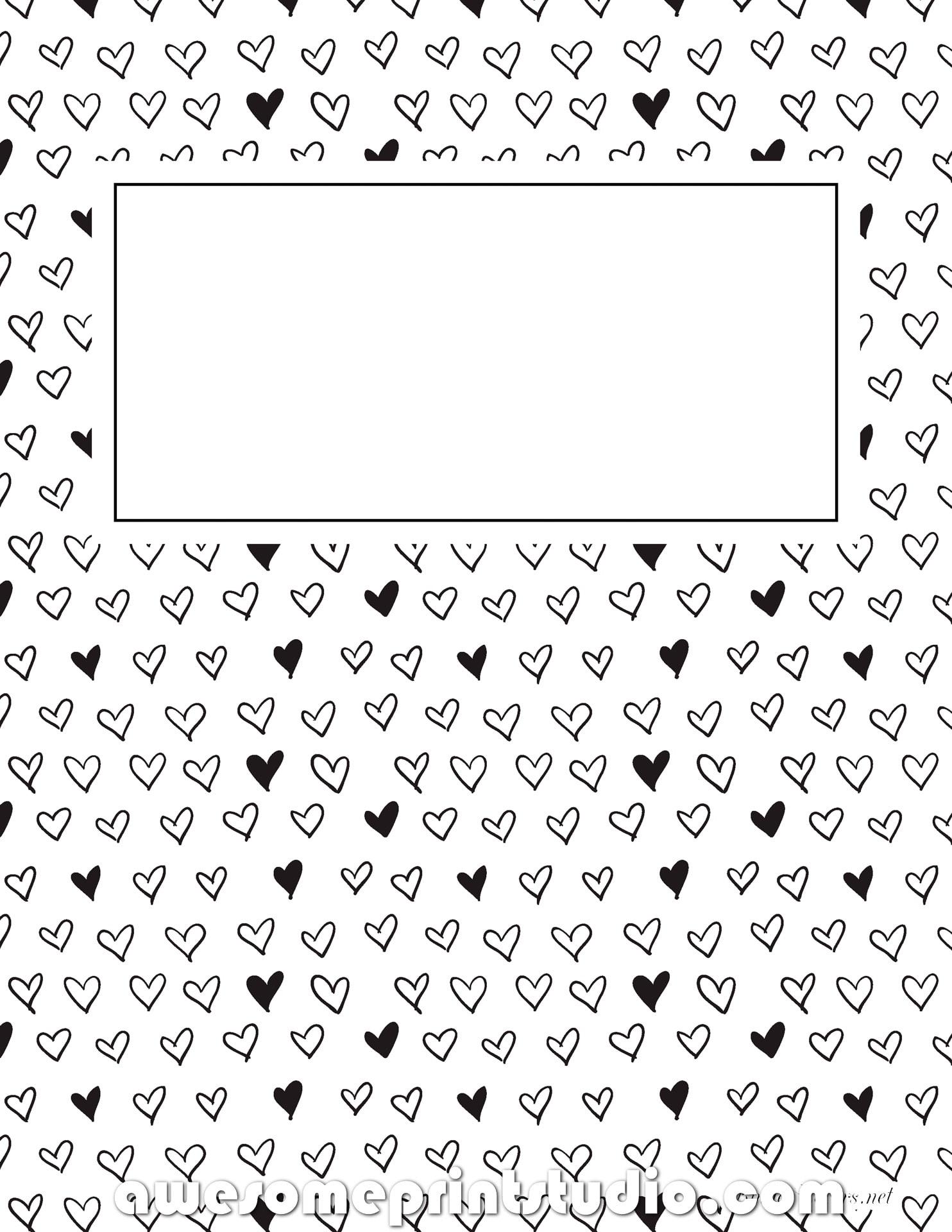 распечатать красивые черно белые обложки для тетрадей с сердечками