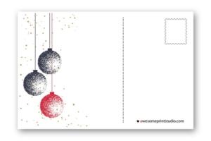 новогодний оборот почтовой открытки с шариками в хорошем качестве