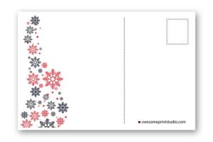 новогодний оборот почтовой открытки со снежинками в хорошем качестве