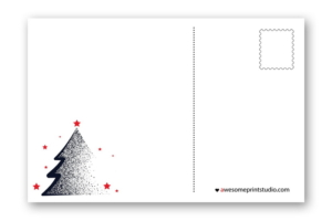 новогодний оборот почтовой открытки с елочкой в хорошем качестве
